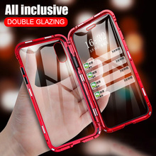 Podwójne szkło magnetyczne metalowe etui do Huawei P40 P30 Lite P20 Pro etui na telefony Huawei Honor 9X Pro 20s 30s 10i Nova 5T 6 SE 7i etui