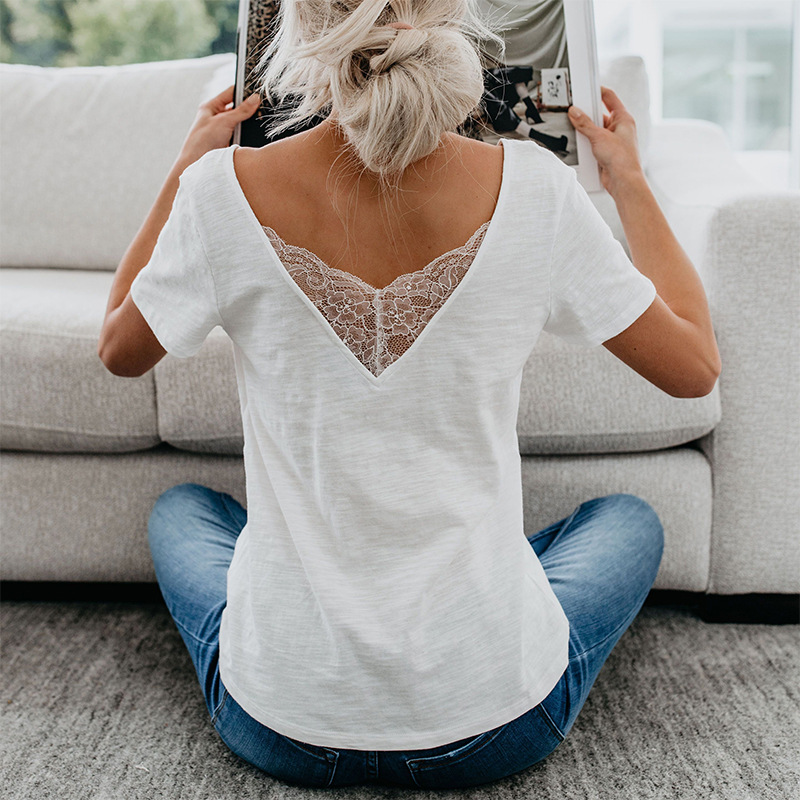 Sexy V-neck Open Back T-shirt Butterfly Lace Slim Casual Solid Short Sleeve T-shirt Women 2020 Summer