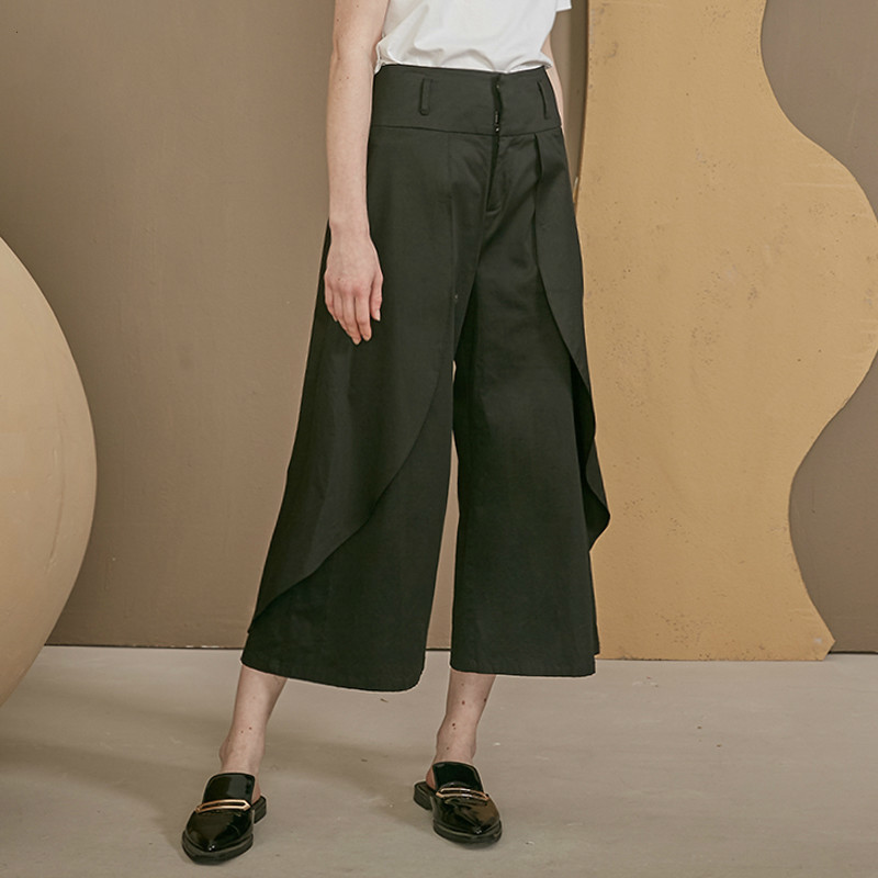 TVVOVVIN High Waist Spliced Irregular Trousers New Loose Fit   Wide     Leg     Pants   Women Fashion Tide All-match Spring Autumn 2019 D375