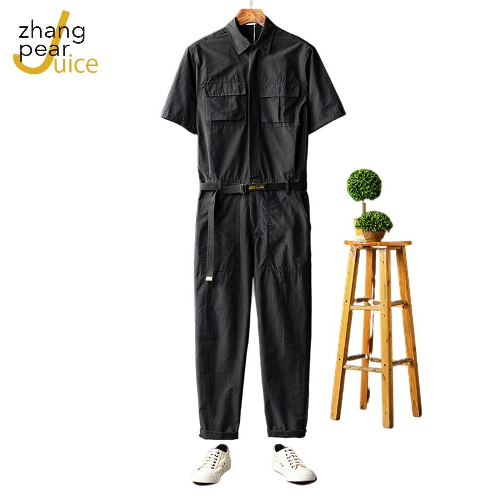 Men's Jumpsuit Short Sleeve Lapel Overalls Hip Hop Streetwear Loose Cargo Pants Green Black Trousers