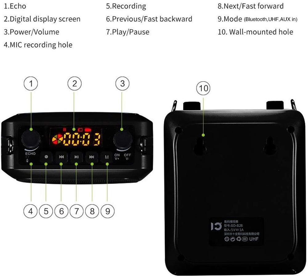 Echo Megaphon 25W große power Bluetooth lautsprecher UHF wireless Sound System Tragbare Verstärker Stimme