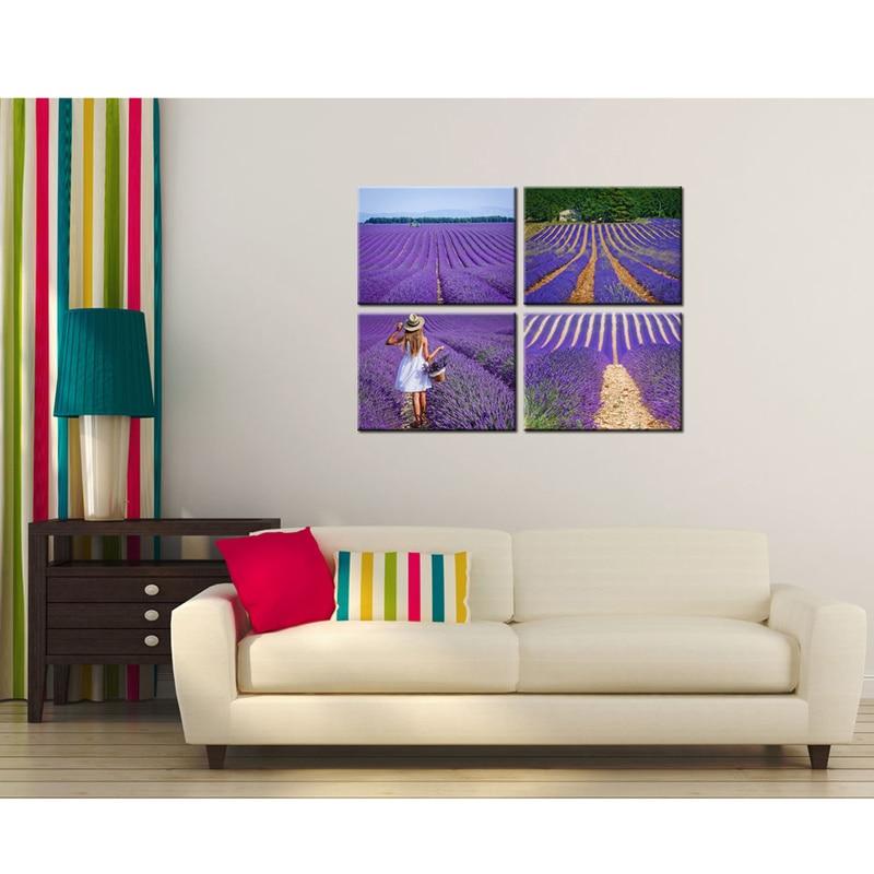 Hd Печать Прованс лавандовое поле пейзаж картина девушка с фиолетовыми