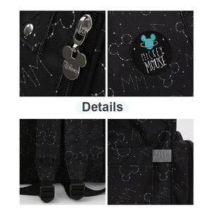 Image 3 - Disney Bolsa de pañales impermeable con calefacción USB, mochila de pañales para mamá pequeña, bolsa de viaje de caricatura Micky, bolsa de pañales de Minnie de gran capacidad