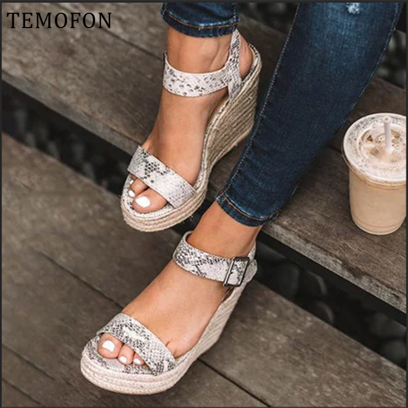 Sandali con plateau TEMOFON peep toe tacchi alti sandali con zeppa tacchi neri scarpe estive da donna scarpe eleganti romane di grandi dimensioni HVT907
