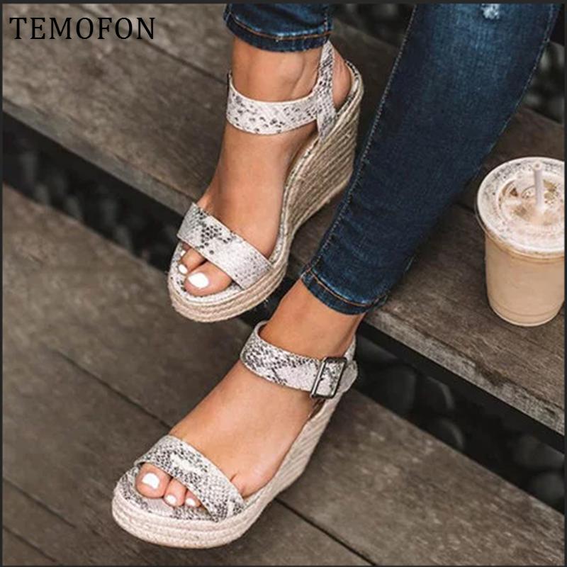 TEMOFON Platform sandaletler peep toe yüksek topuklu takozlar sandalet siyah topuklu yaz kadın ayakkabı büyük boy roma elbise ayakkabı HVT907