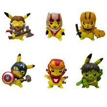 Marvel Avengers Cute Pikachu Cosplay Thor Thanos Hulk iron Man Captain America Deadpool Model Keychain Toys with Retail Box цена