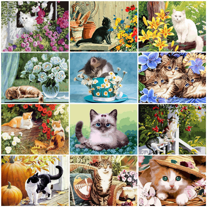 AZQSD Adult Paint By Numbers Animal Pastoral Style Handmade Gift Coloring By Number On Canvas Cats Kits Living Room Decor