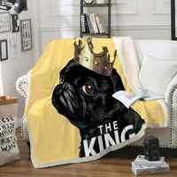 Black Pug Throw Blanket Cute Dog Sherpa Fleece Blanket Cartoon Pet Fur Bed Blanket Kids Teens King Puppy Bedspreads Yellow