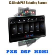 """12.8 """"회전 IPS 스크린 PX6 테슬라 스타일 안드로이드 9.0 더블 2 딘 자동차 범용 gps dsp 멀티미디어 라디오 아니 DVD 플레이어 와이파이 usb"""