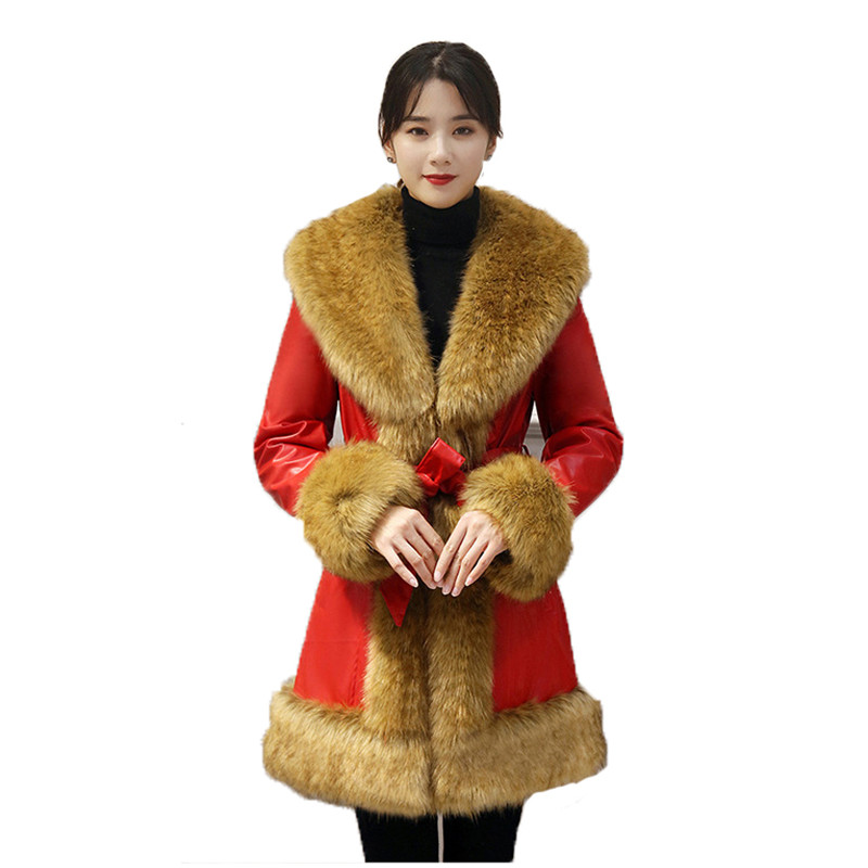 Winter warmth faux   leather   coat black red plus size loose PU tops jacket 2019 new long sleeve fashion faux   leather   coat LD1218