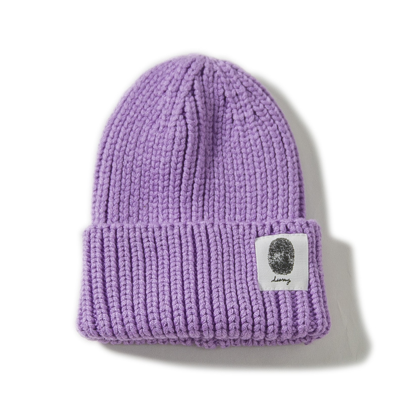 12Color Casual Beanies for Men Women Child Knitted Winter Hat Solid Fashion Skullies Unisex Caps Girls Parent-child Purple Hats
