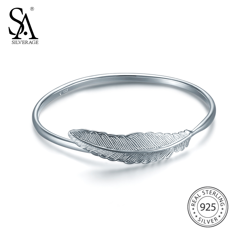 SA SILVERAGE 2018 Women Bohemia Feather Silver Bracelets Bangles Real 925 Sterling Silver Bangles for Women Fine Jewelry in Bracelets Bangles from Jewelry Accessories