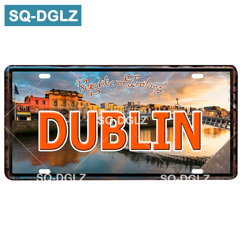 [SQ-DGLZ] DUBLIN City License Plate Tin Sign Vintage Metal Sign Bar Wall Decoration Home Decor Painting Plaques Art Poster image