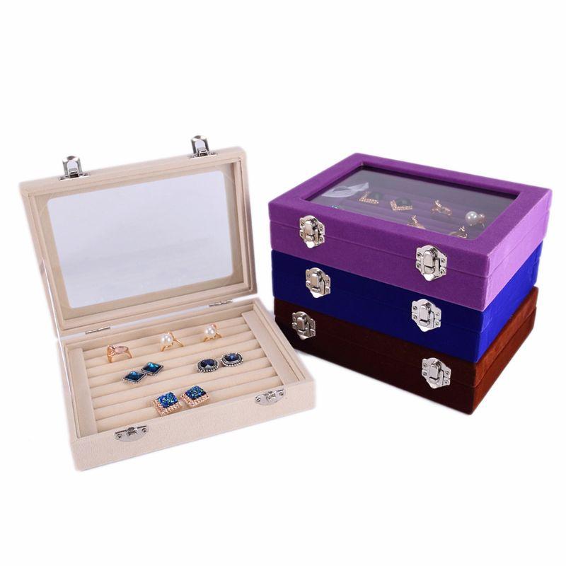 7 Color Velvet Glass Ring Earring Jewelry Display Organizer Box Tray Holder Storage Box
