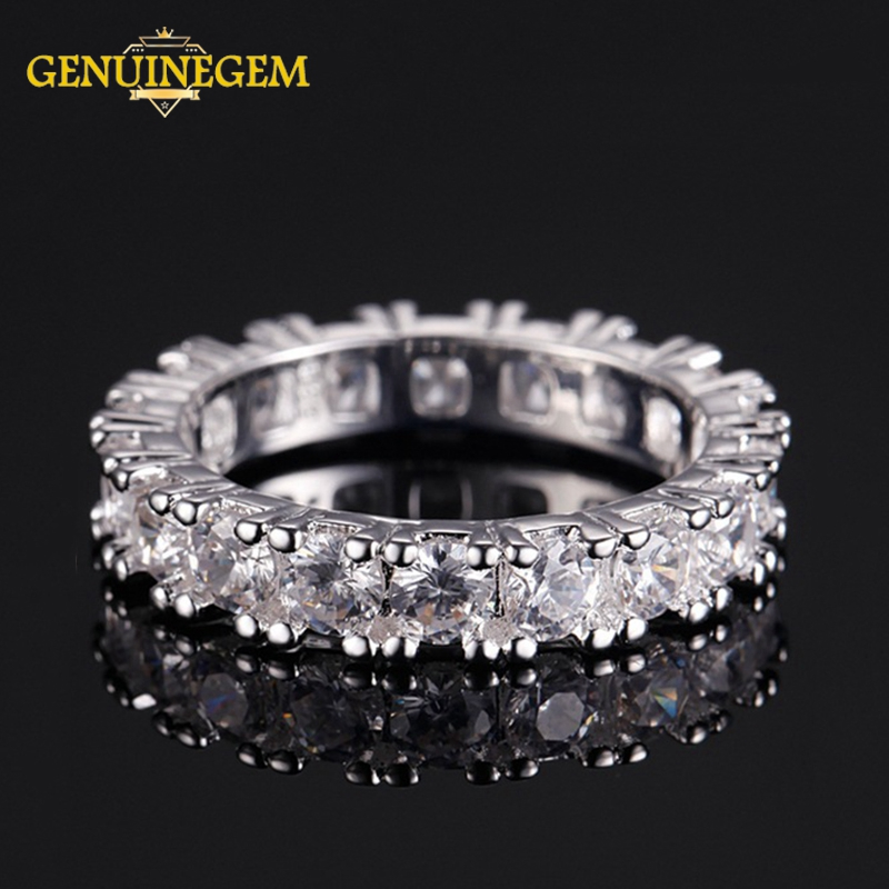 GENUINEGEM 100% Real 925 Sterling Silver Ring Women Men Classic Full Pave AAA Cubic Zircon Engagement Wedding Band Couple Rings