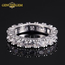 GENUINEGEM 100% Real 925 Sterling Silver Ring Women Men Classic Full Pave AAA Cubic Zircon Engagement Wedding Band Couple Rings(China)