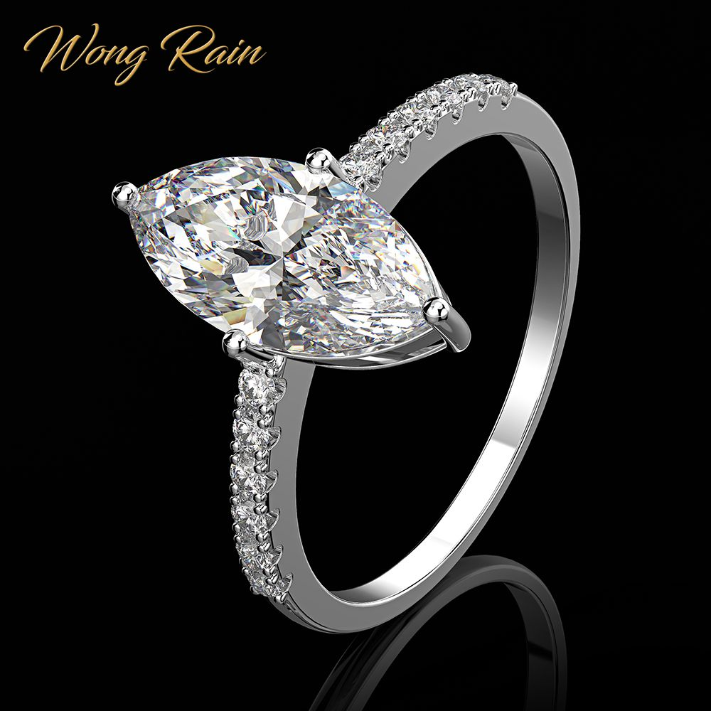 Wong Rain Luxury 100% 925 Sterling Silver Marquise Created Moissanite Gemstone Wedding Engagement Ring Fine Jewelry Wholesale