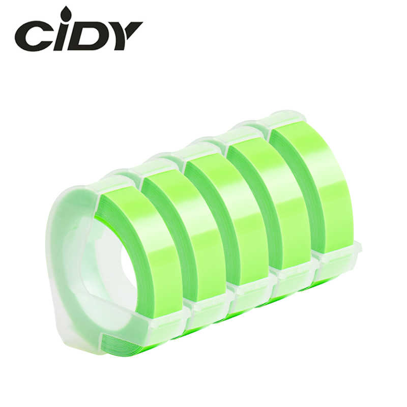 CIDY 5pc ניאון ירוק 9mm * 3m תואם DYMO 3D פלסטיק הבלטות קלטת הבלטות תווית יצרנית עבור DYMO 1610/1575 Motex E101