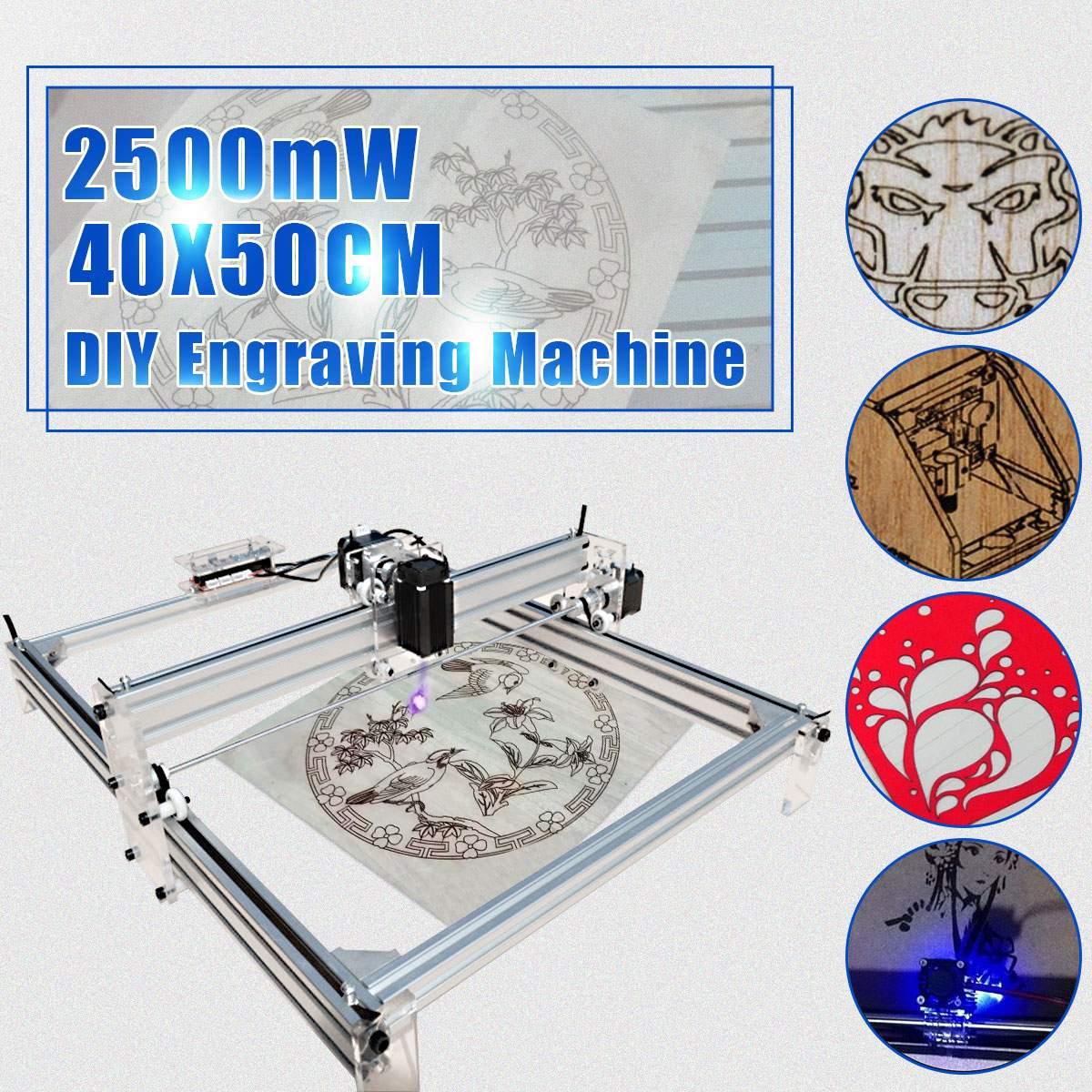 2500MW Mini Laser Engraving Machine 40*50cm 12V DIY Desktop Mini Wood RouterCutting/Engraving Machine With Laser Goggles