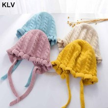 Princess Baby Girl Hat Laciness Knit Winter Newborn Hat Baby Bonnet Enfant Hats Kids Cap