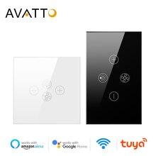 """AVATTO חכם Wifi מאוורר אור מתג, האיחוד האירופי/ארה""""ב תקרת מאוורר מנורת מתג Tuya מרחוק שונים בקרת מהירות עבודה עם Alexa, Google בית"""