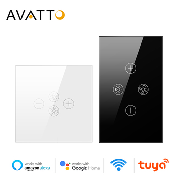 AVATTO Smart Wifi Fan Light Switch,EU/US Ceiling Fan Lamp Switch Tuya Remote Various Speed Control Work with Alexa, Google Home