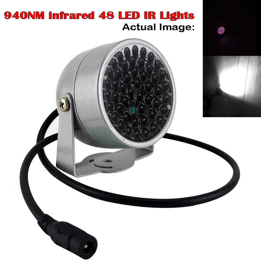 Invisible Illuminator 940NM Infrared 60 Degree 48 LED IR Lights  Waterproof Fill Light For CCTV Night Vision Surveillance Camera