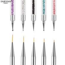 Ensemble de stylos à pointiller double côté pour le nail art, idéal pour dessiner des lignes et des points avec le gel acrylique UV et le vernis à ongles, outil de manucure pour les professionnels, 5 pièces