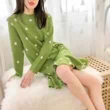 Chic Polka Dot Women Sweater Dress Autumn Winter New Long Sleeve Bodycon Knee Length Dresses Ladies Knitted Loose Sweater Dress new women slash neck irregular hem cashmere sweater dress long sleeve knee length knitted mermaid dress spring autumn bottoming