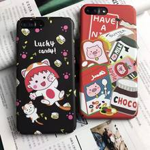 Cute Cartoon Cat Milk Lovely Lucky Black Red Case Hard plastic Cover Funda Coque For iPhone 8 7 plus X XR XS Max Bag(China)