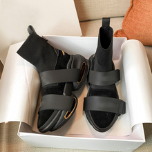 Boots Femme Fabric-Shoes Pointy Buckle-Strap Stretch Black Woman Ankle Toe-Sock Elastic