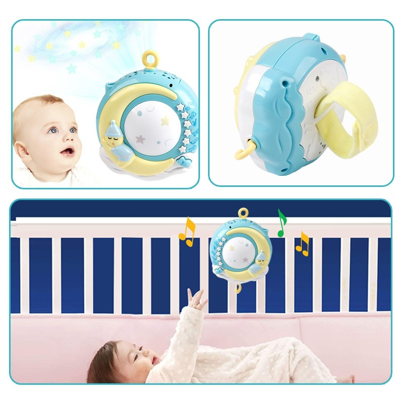 Hot Sales Bed Bell Rattle Toy 0-18 Month Music Bedside Bell Projection Infants Pacify Toy