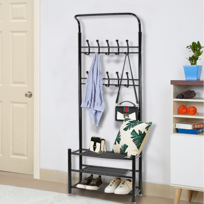 Bedroom Hanger Rack Standing Hanging Coat Shoes Wall Shelves Living Room Removable Clothes Multi Function Floor Metal Drying HWC