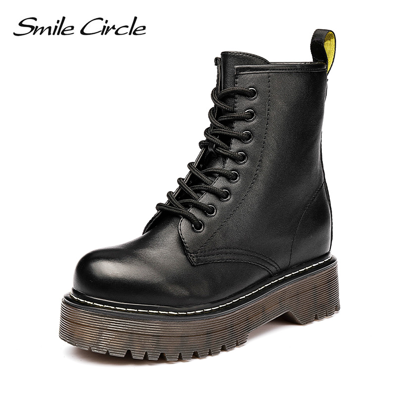 Smile Circle Size36 41 Chunky Motorcycle Boots For Women Autumn 2018 Fashion Round Toe Lace up