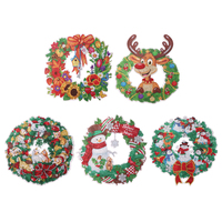 Pintura de diamante 5D DIY, Kits de corona de cristal, arte mosaico artesanal, guirnalda de dibujo de diamantes de imitación, decoración colgante para puerta y pared, regalos