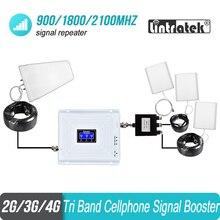 Tri Band טלפון סלולרי אות משחזר 2G 3G 4G 900 1800 2100 GSM 3 pcs אנטנה פנימית סט מגבר מגבר GSM WCDMA LTE #40