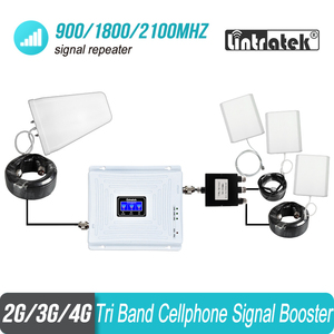 Image 1 - Tri Band Cell Phone Signal Repeater 2G 3G 4G 900 1800 2100 GSM 3 pcs Internal Antenna Set Booster Amplifier GSM WCDMA LTE#40