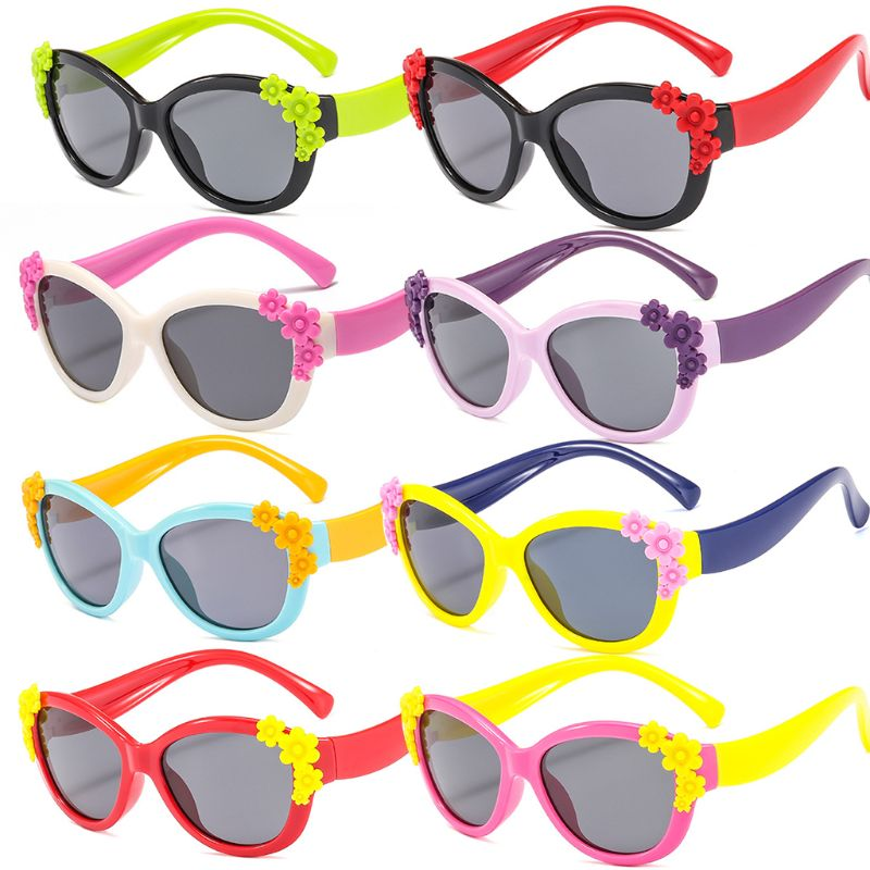 Children Sunglasses Boys Girls Kids Silicone Safety Flower Polarized Sun Glasses