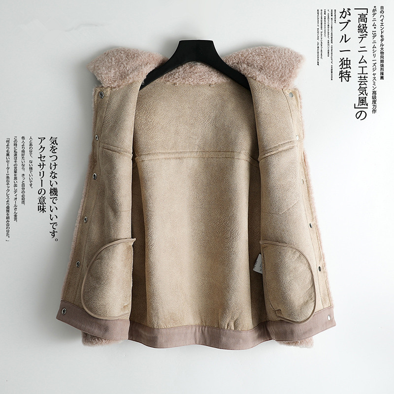 Fur Women's 2020 Coat Sheep Shearling Fur Winter Jacket Women 100% Wool Coat Female Korean Jackets Manteau Femme MY4183 S
