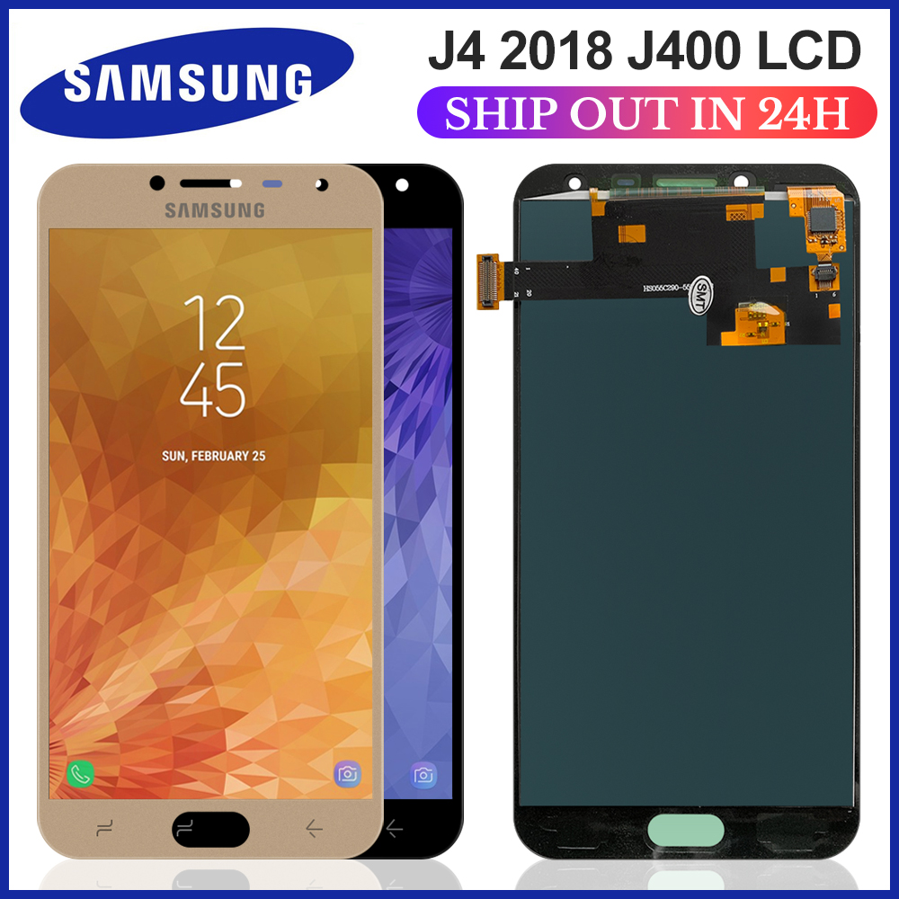Brilho ajustável j400 lcd para samsung galaxy j4 2018 j400f j400f/ds j400g/ds lcd display touch screen replacemen 5.5 inch inch polegadas
