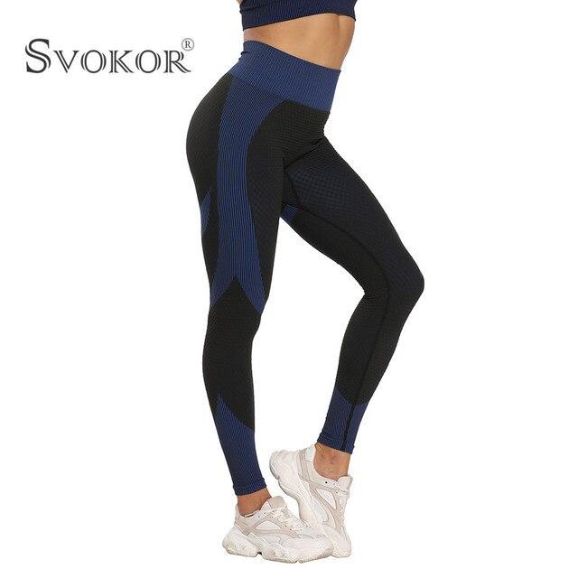 SVOKOR Spring Seamless Workout Leggings Sets Women High Waist Push Up Perfect Fit Leggings Print Gym New 3