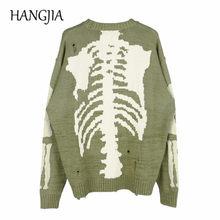 Suéter de calaveras Con agujeros para hombre y mujer, ropa informal japonesa desgastada, Jersey de punto bordado de gran tamaño, Hip Hop