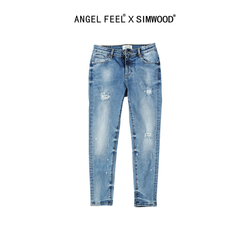 SIMWOOD 2020 Summer New Jeans Women RippedSplattered Stretch-Denim Pants Slim Fit Fashion Hole Ankle-length Jean SW005