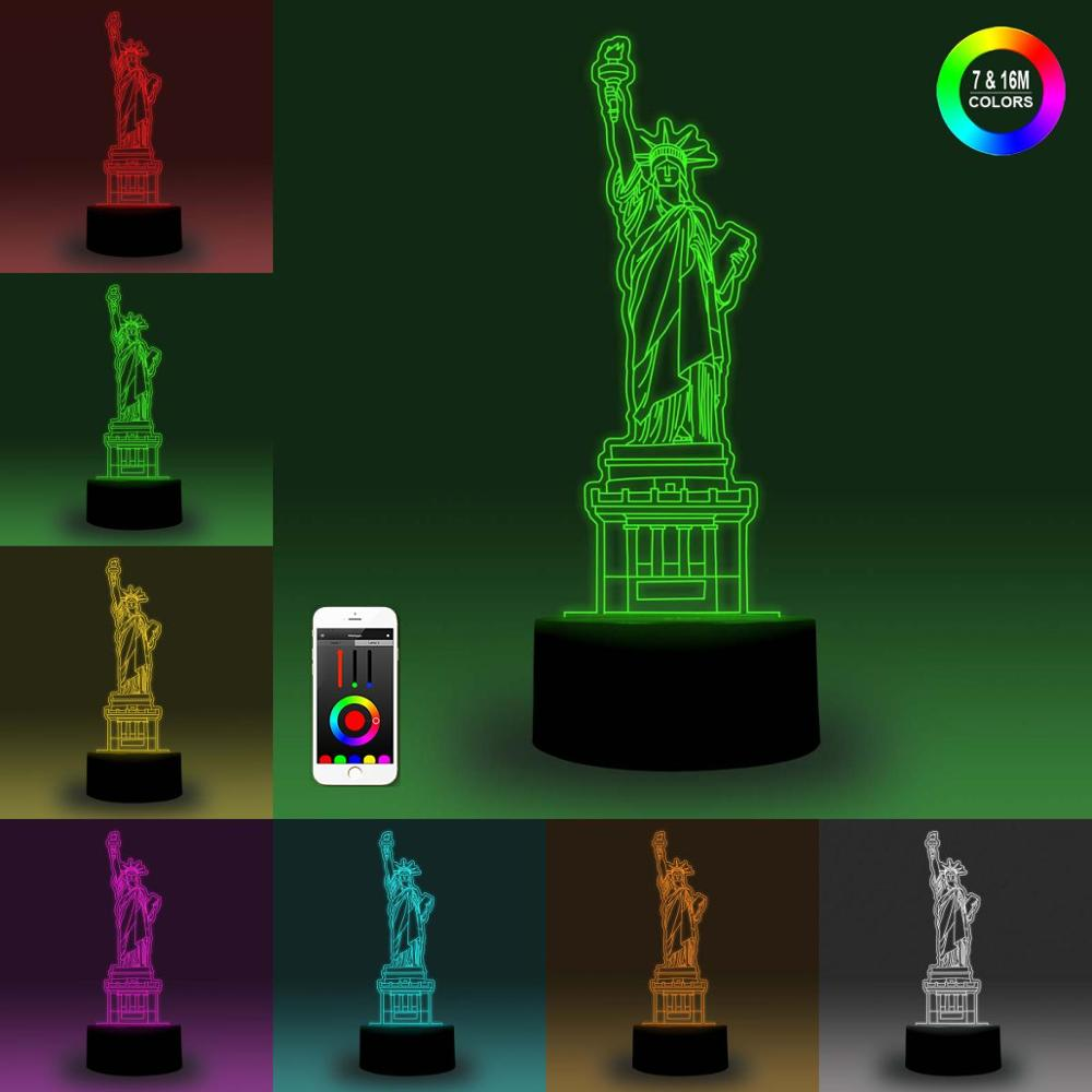 NiteApps 3D The Statue Of Liberty Night Light Desk Table Illusion Decoration Lamp Holiday Birthday Gift APP/Touch Control