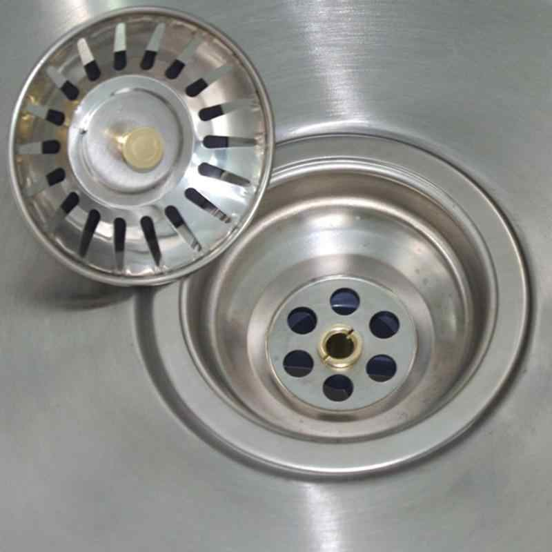 Dapur Stainless Steel Sink Strainer Waste Disposer Plug Drain Stopper Filter Tahan Lama Alat Dapur