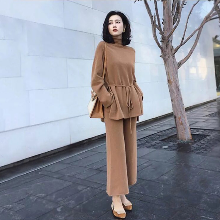 Women Spring Solid Knitting Sashes Turtleneck Pullovers Top + Wide Leg Pants Sets Knitted Sweaters Trousers Set 2 Pieces Outfits