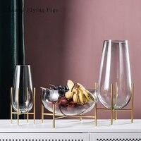 Light luxury glass transparent vase multi function fruit plate decoration home living room model room soft decoration flower