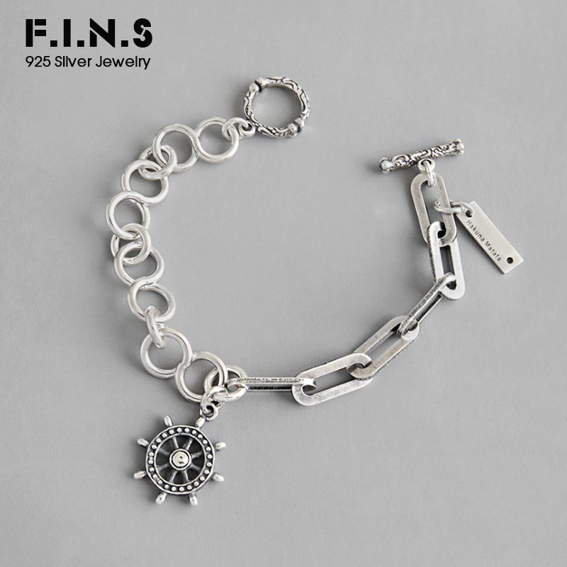 F.I.N.S Korean S925 Sterling Silver Bracelet INS Punk Retro Rudder Asymmetrical Chain Charm Silver Bracelets on Hand Ornament