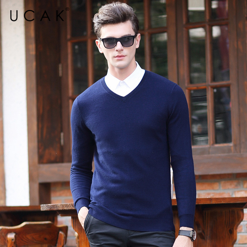 UCAK Brand Wool Pullover Sweaters Men 2020 New Arrival V-Neck Casual Spring Autumn Streetwear Multicolor Solid Sweater U1048