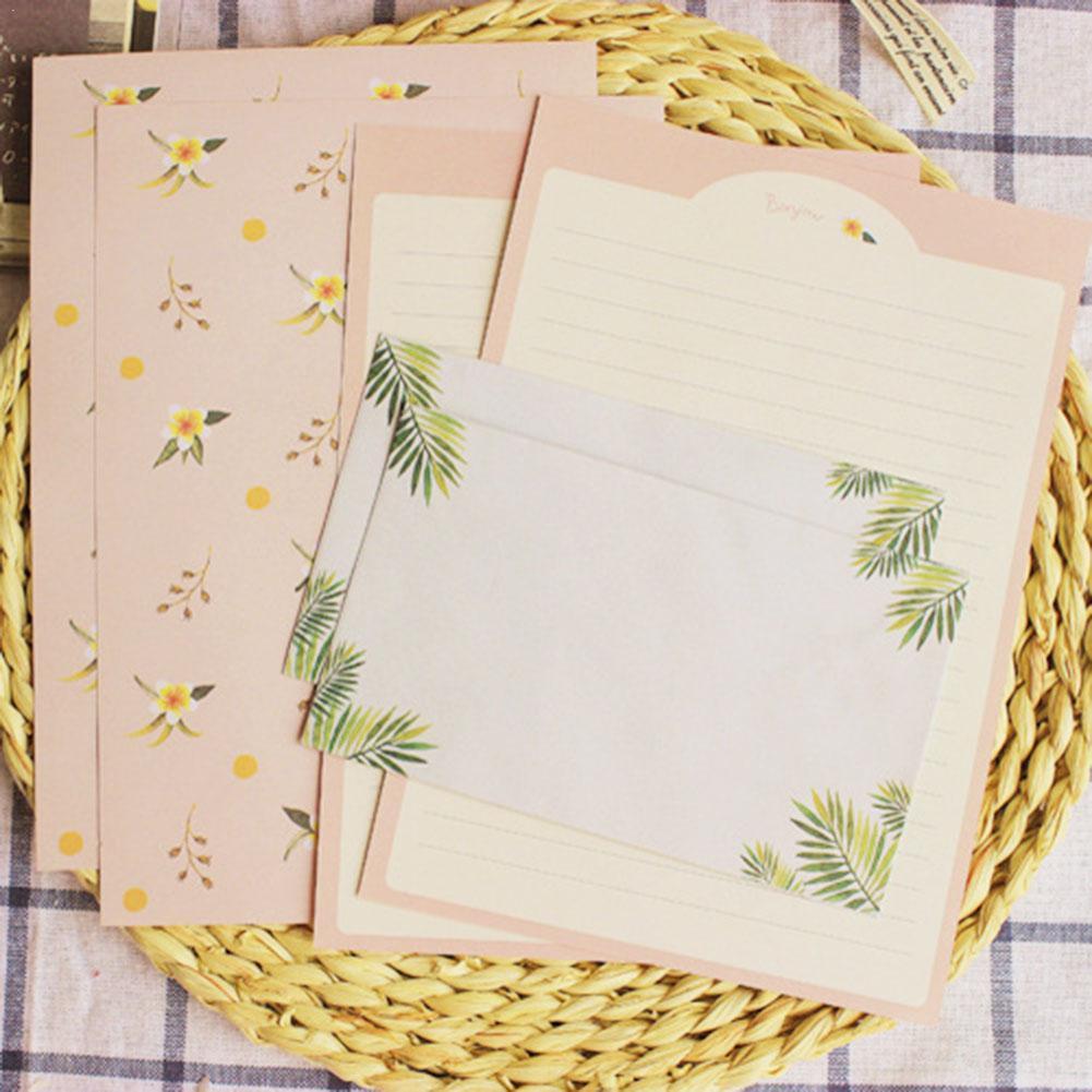 Envelope Finely Flower Animal Letter Pad Set Letter Paper Sets Writing Korean SGJ5617 Paper+Envelopes Kids Stationery Gift U7J8